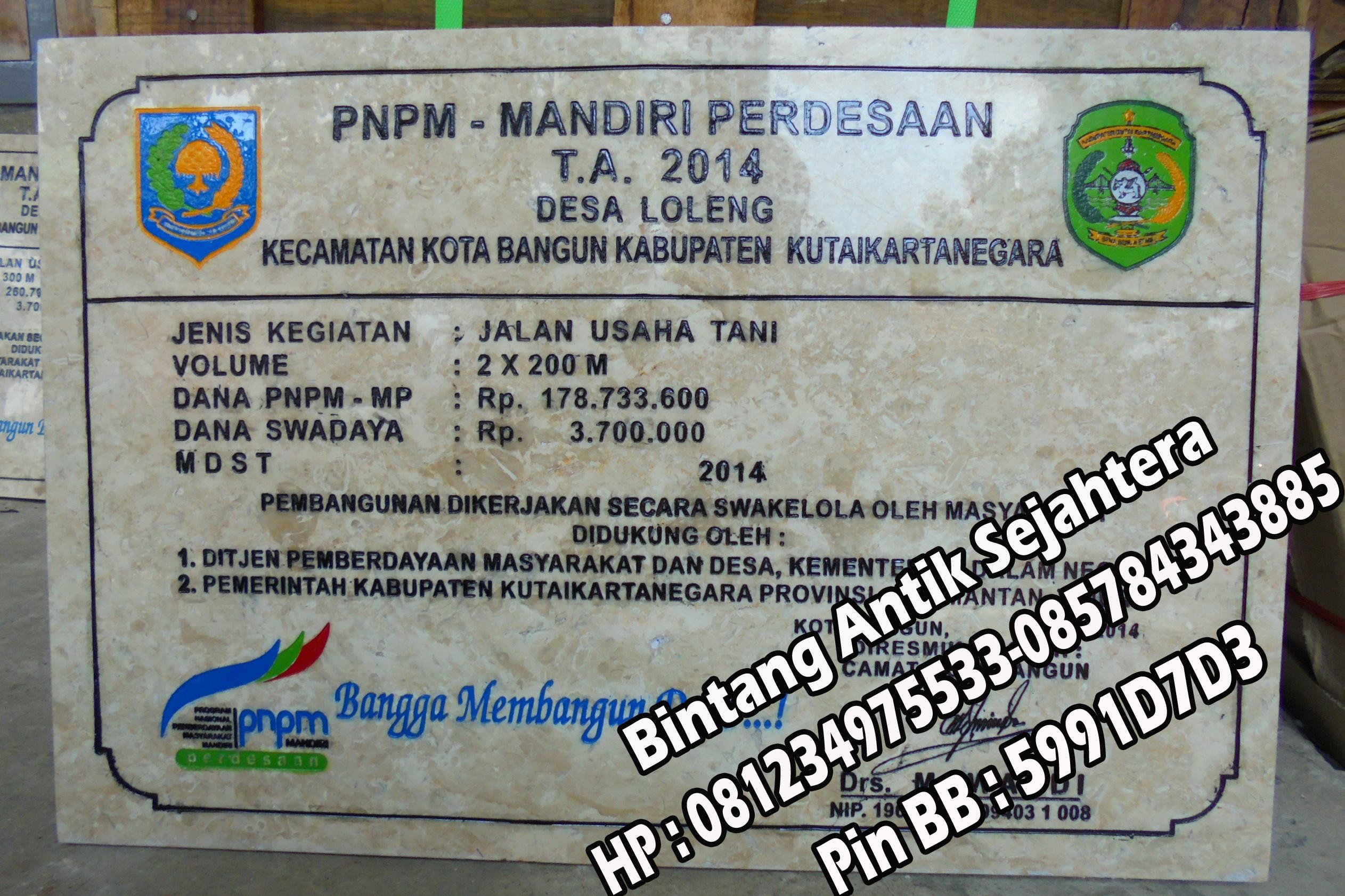 Jual Prasasti Marmer, Prasasti PNPM Marmer Tulungagung