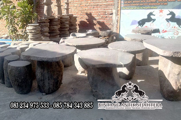 Meja Kursi Taman Dari Batu, Set Meja Taman